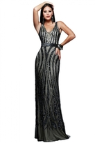 Faviana Flashy Full Beaded Tulle Evening Gown S7612