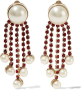 Valentino Gold-plated, faux pearl and crystal earrings