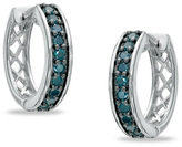 Zales 1/2 CT. T.W. Enhanced Blue Diamond Huggie Hoop Earrings in Sterling Silver