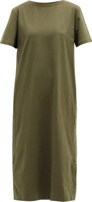 Moncler Press-stud Cotton T-shirt Dress - Khaki
