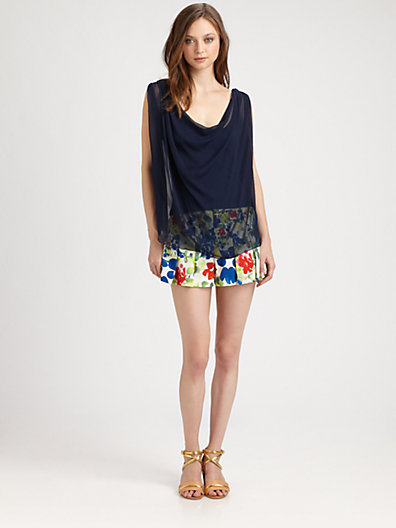 Alice + Olivia High Waist Box Pleated Shorts