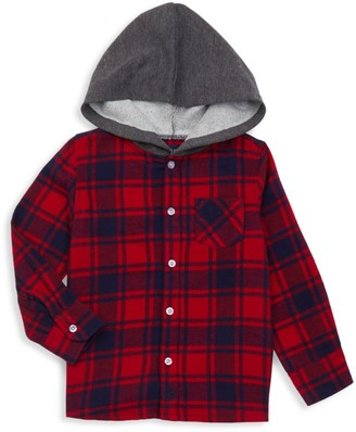 Andy & Evan Little Boy's Hooded Plaid Button-Front Shirt