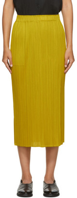 Pleats Please Issey Miyake Yellow Pleated Mid-Length Skirt