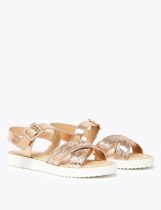 Marks and Spencer Kids' Cross Vamp Glitter Sandals (13 Small - 6 Large)