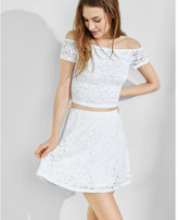 Express one eleven white lace mini skirt