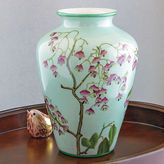 Gump's Pink Blossom On Turquoise Vase