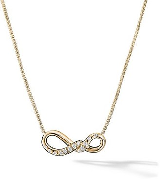 David Yurman Continuance Small Pendant Necklace with Diamonds in 18K Yellow Gold