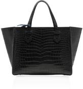 Moreau Medium Black Crocodile Skin Breganon Top Handle Bag