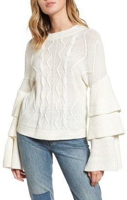 BP Women's Tiered Sleeve Cable Knit Sweater