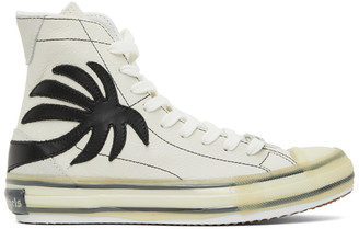 Palm Angels White Palm Vulcanized High Top Sneakers