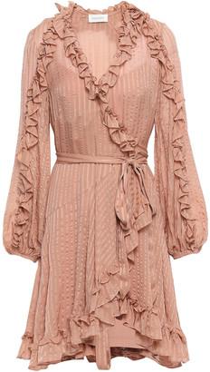 Zimmermann Cascade Ruffle-trimmed Striped Silk-chiffon Mini Wrap Dress
