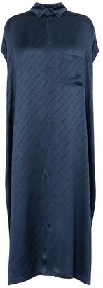 Balenciaga Logo silk satin shirt dress