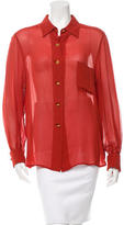 Hermes Sheer Button-Up Top