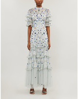 Needle And Thread Meadow floral sequin and tulle gown