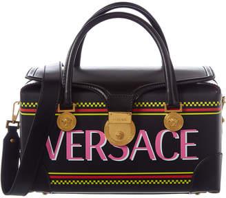 Versace 90'S Vintage Logo V-Adiona Leather Shoulder Bag