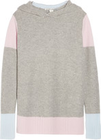 Autumn Cashmere Color-block hooded honeycomb-knit cashmere sweater