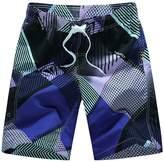 Aivtalk Men's Strip Printing Quick Dry Boardshort Volley Swim Trunk Shorts L