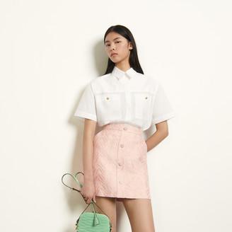 Sandro Short striped jacquard skirt