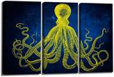 YYL ART Modern Art Octopus Canvas Art Picture Printed Painting on Canvas Stretched and Framed For Home, Retro dark blue background with Yellow octopus collection wall decor art Ready to hang 16x32inx3 panel