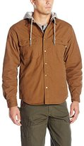 Wolverine Men's Overman Fleece Lined Cotton Duck Canvas Hooded Shirt Jacket