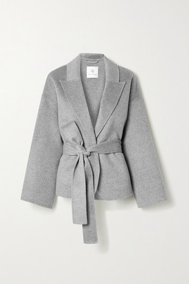 Anine Bing - Luna Belted Wool And Cashmere-blend Jacket - Anthracite