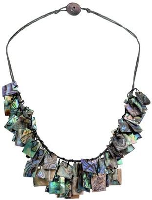 Aeravida Handmade Stylish Hanging Abalone Shell Rectangles Layered Collar Necklace