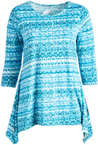 Glam Blue & Teal Geometric Stripe Sidetail Top - Plus