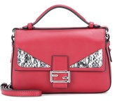 Fendi Double Micro Baguette Snakeskin-embellished Leather Shoulder Bag