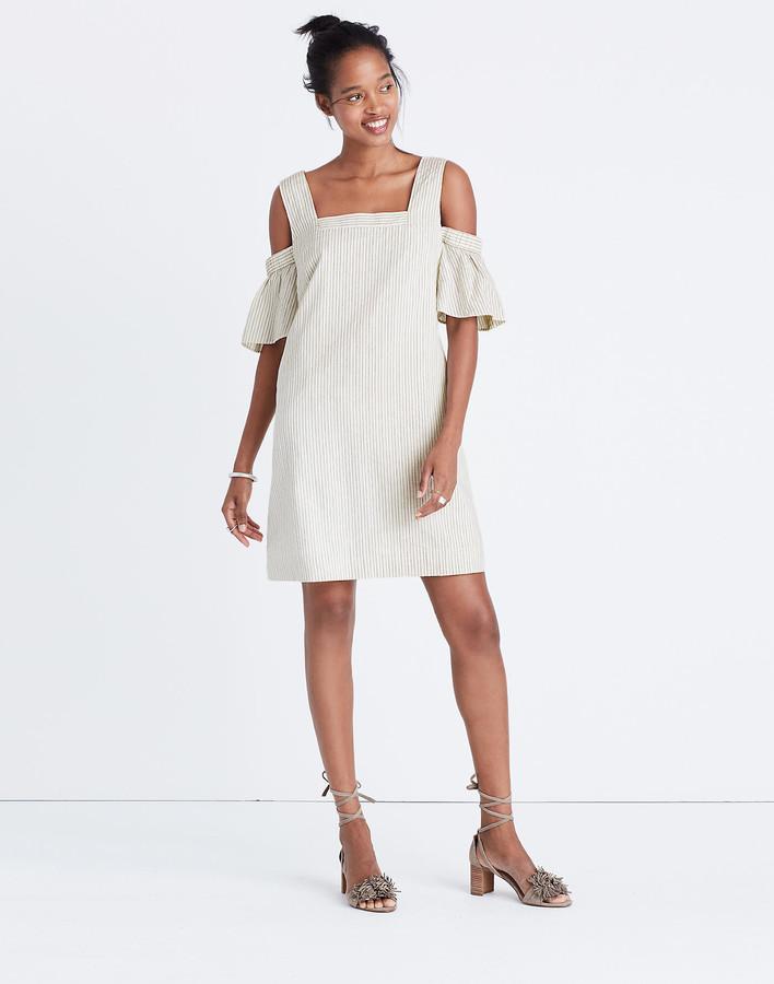 Madewell Striped Cold-Shoulder Dress