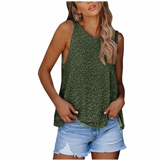 Sunpark Women Clothes Womens Sleeveless Leopard Print Vest Strap Crop Sexy Round Neck Funny Tank Tops Summer Casual Cami Basic Blouses Shirts Army Green
