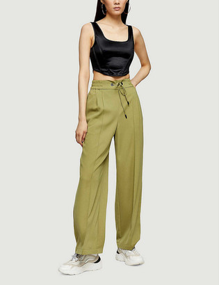 Topshop Wide-leg high-rise woven trousers