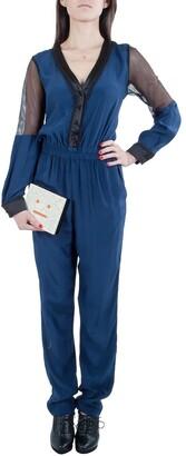 Jonathan Simkhai Navy Blue Silk Long Sleeve Mesh Panel Jumpsuit S