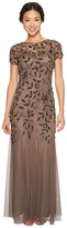 Adrianna Papell Petite Short Sleeve Fully Beaded Floral Motif Gown