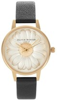Olivia Burton 'Flower Show' Leather Strap Watch, 30mm