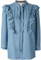 Marc Jacobs ruffled denim blouse - women - Lyocell - 8