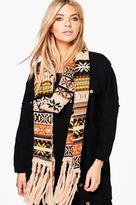 Boohoo Florence Fairisle Fringed Knitted Scarf