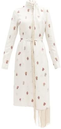 Gabriela Hearst Kelley Fringed Floral-print Silk Dress - White Multi