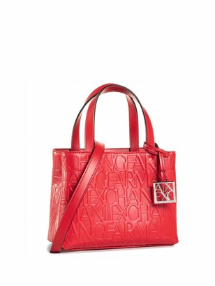 Armani Exchange A|X Women's Small Logo All Over Debossed Open Shopping Bag Satchel