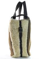UGG Brown Leather Shearling Zipper Closure One Pocket Satchel Handbag