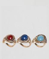 Asos Pack Of 3 Festival Stone Rings