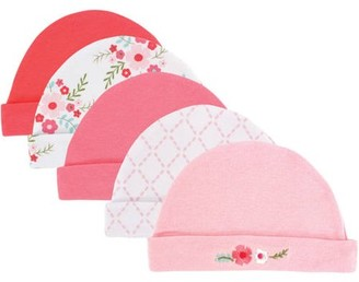 Luvable Friends Baby Girl Caps, 5-Pack