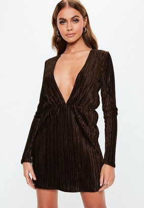 Missguided Chocolate Pleated V Plunge Mini Dress