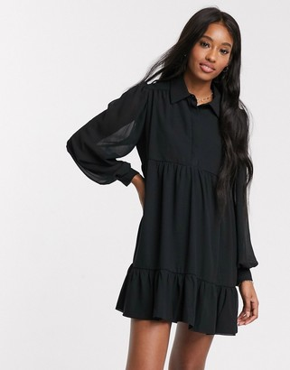 In The Style x Jac Jossa button through swing shirt dress in black