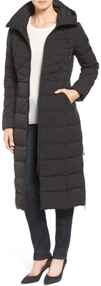 Bernardo Quilted Long Coat with Down & EcoPlume Fill