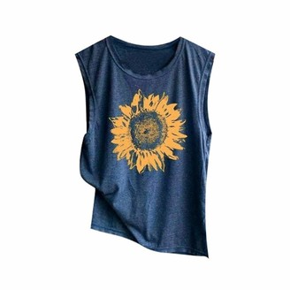 NPRADLA Womens Vest Tops Ladies Girls Sunflowe Print Plus Size T Shirts Casual Loose Tank Top Soft Comfortable Blouses Navy