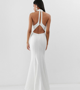 Jarlo Tall high neck trophy maxi dress with open back detail in white