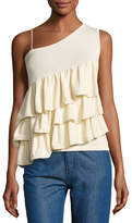 Co Ruffled One-Shoulder Top, Ivory