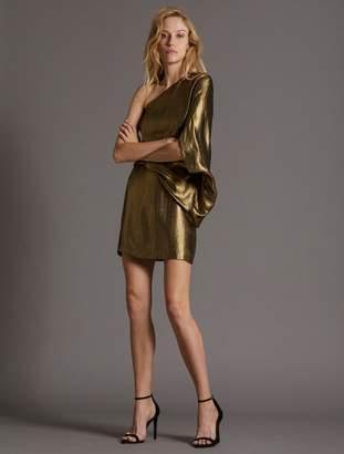 Halston METALLIC DRAPE DRESS