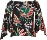 Izabel London Tropical Floral Print Frill Sleeve Top