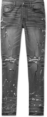 Amiri Thrasher Minus Skinny-Fit Distressed Bleach-Splattered Stretch-Denim Jeans